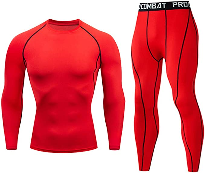 Details about  /Men/'s Compression Base Layer Tracksuit T Shirt Long Pants Thermal Workout  Set