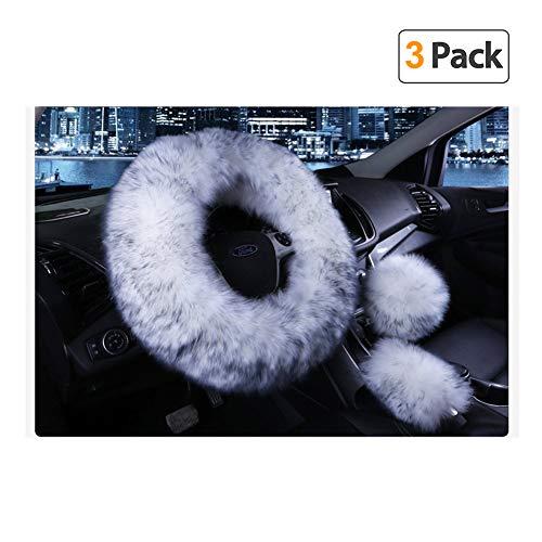 Younglingn Car Steering Wheel Cover Gear Shift Handbrake Fuzzy Cover 1 Set...