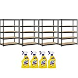 Heavy Duty Garage Shelf Steel Metal Storage 5 Level Adjustable Shelves Unit 72'' H x 48'' W x 24'' Deep with Lysol, 4-Pack