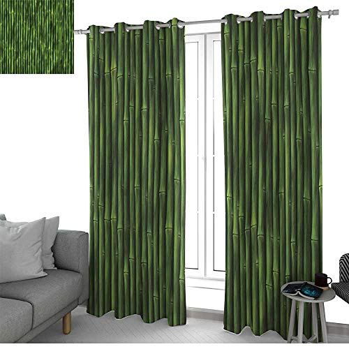 NUOMANAN Curtains for Bedroom Bamboo,Bamboo Stems Pattern Tropical Nature Inspired Background Print Asian Wildlife Zen Decor,Green Curtain Panels for Bedroom & Kitchen, 1 Pair120 x96