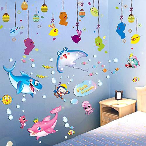 Fish Hanging Surface - fefre 3D Wall Sticker Nursery Bedroom Walls Wall Decor Children's Room Bedroom Wall Surface, Marine Fish and Hanging Ornaments Wall Sticker