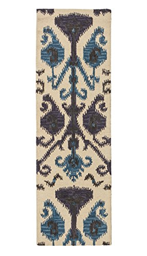 Stone & Beam Contemporary Ikat Inspired Wool Rug, 2'3'' x 7'6'', Beige by Stone & Beam