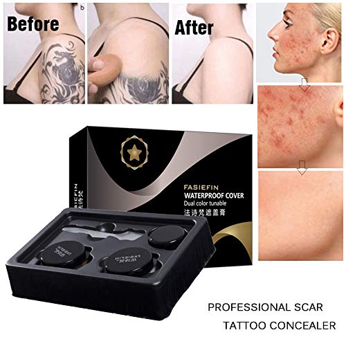 SUNSENT Tattoo Concealer Set,Waterproof and Long Lasting Cover Up Cream For Scar/Birthmarks/Tattoo/Skin Spots