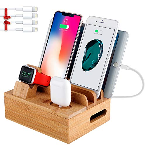 Bamboo Charging Station for Multiple Devices-5 Ports 58W USB Charger for Cellphone Tablet -Apple Watch Stand AirPods Dock- 4 Pack Short Cable Included (Best Iphone 5 Charging Dock)