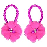 DZT1968® Baby Girl Pearl Chiffon Flower Foot Jewelry Shoes Barefoot Sandals (Hot Pink)