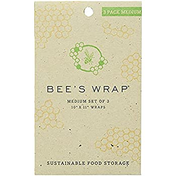 "Bee's Wrap Sustainable Reusable Food Storage Medium Set of 3 Wraps 10"" x 11"""