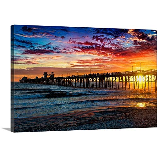 Alan Crosthwaite Solid-Faced Canvas Print Wall Art Print Entitled Colorful Sunset at The Oceanside Pier 24