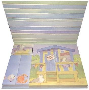 Notas adhesivas (4 diseños en diferentes tamaños), diseño de casetas de playa/Seaside by Emma Ball: Amazon.es: Oficina y papelería