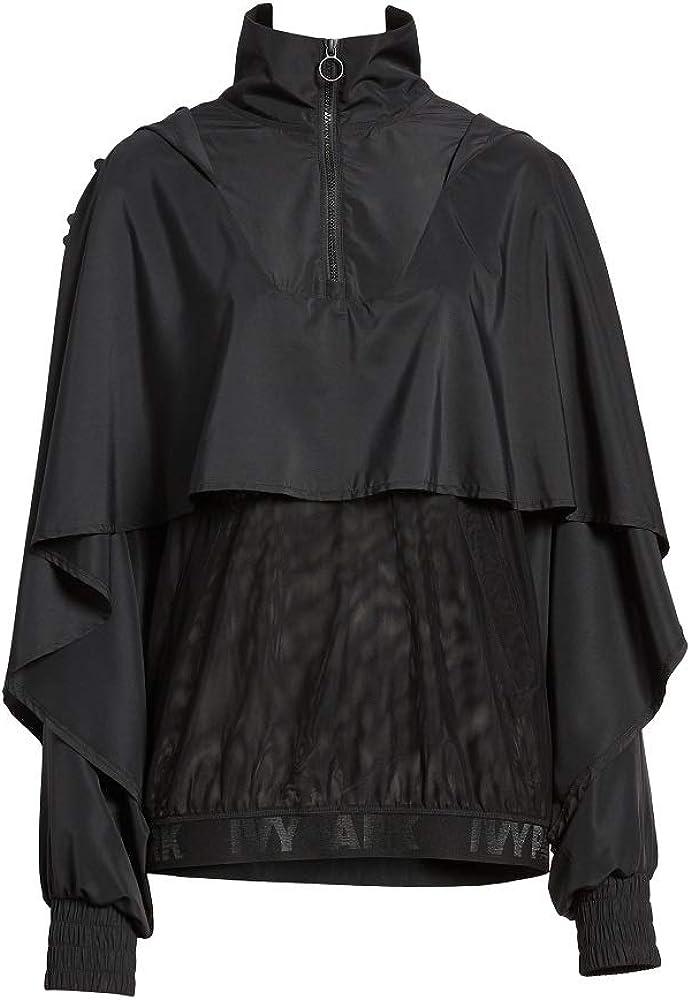 Ivy Park Regal Cape-Mesh Jacket-Black-Oversized Medium