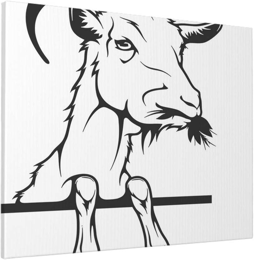 AOYEGO Goat Wall Decor 20x16 Inch Farm Animal Peeking Goats Head Horns Beard Art Paint Home Canvas Print Pictures Artwork for Bedroom Living Room