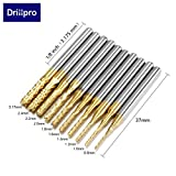 DRILLPRO 10Pcs 0.8 - 3 mm Titanium Coat Carbide End Mill Engraving Bits CNC Rotary Burrs Set Tool PCB Mould Plastic Fiber Carbon Fiber Hardwood, 1/8'' Shank