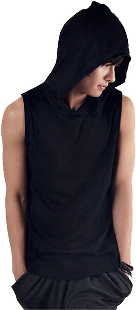 Domple Mens Full-Zip Trainning Sports Summer Sleeveless Hooded Tank Top Tee