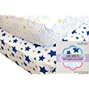 Fitted Crib Sheets - 100% Organic Jersey Cotton | 2-Pack | Cute Design for Boys
