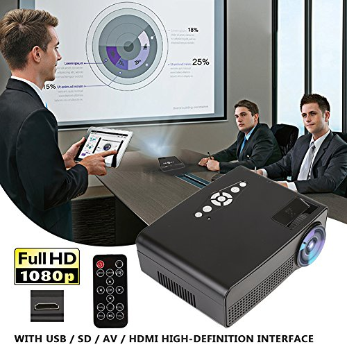 Hanbaili (US Plug)3000 Lumens LCD Mini Projector, Multimedia Home Theater Video Projector Support 1080P HDMI USB SD Card VGA AV Home Cinema TV Laptop Game iPhone Android Smartphone with HDMI Cable by Cewaal