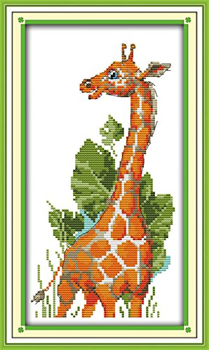 CaptainCrafts Hots Cross Stitch Kits Patterns Embroidery Kit - Giraffe Animal - Pattern House Cross Stitch
