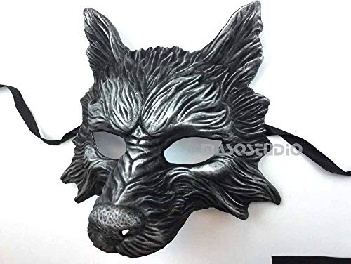 MasqStudio Black Silver Wolf Mask Animal Masquerade Halloween Costume Cosplay Party mask]()