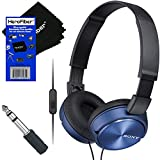 Sony MDR-ZX310AP ZX Series Headband Foldable Stereo Headset with Mic (Blue) + 3.5mm Mini Plug to 1/4 inch Headphone Adapter & HeroFiber Ultra Gentle Cleaning Cloth