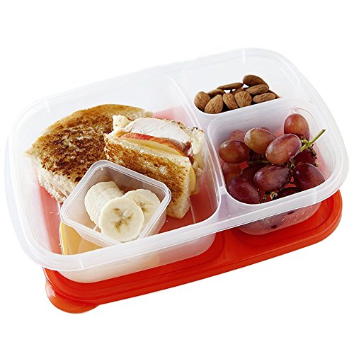 bento lunch box containers 3 compartment reusable food storage bpa free plastic meal prep and. Black Bedroom Furniture Sets. Home Design Ideas