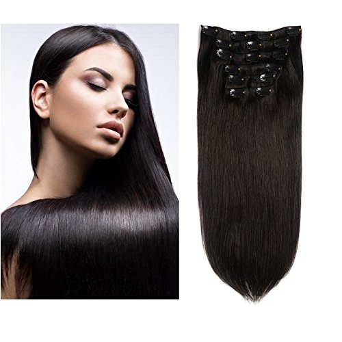 Friskylov Hair 22Inch Clip in Hair Virgin Human Hair Extensions Double Weft 100g(3.52oz) 7Pieces With 16Clips (22Inch, 1B Natural Black)