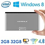 Vensmile® iPC002 Wintel Mini Computer Mini PC All in One PC Supports Windows OS Powered by Atom Quad Core Bay Trail CR Z3735F SoC CPU with 2G RAM 32G eMMC Storage Built in Battery and Bluetooth 4.0 Dual Band WiFi 2.4GHz/5GHz