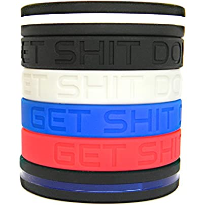 Solza Motivational Silicone Bracelets Set ldquo Get Shit Done rdquo Silicone Wristbands Thin Blue Line Bracelet Thin White Line Bracelet Unisex Colored Wristbands 8 rdquo Hypoallergenic BPA-free Estimated Price -