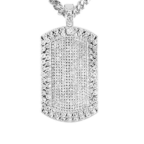 Men's 18k Gold Plated CZ Fully Iced Out Army Tag Cuban Link Chain Pendant (Silver)