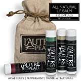 All Natural Luxury Lip Balm by L'AUTRE PEAU | Special 4 Pack Gift Set | Moisturizer (Natural Beeswax) | The Simplicity Lip Balm Gift Set
