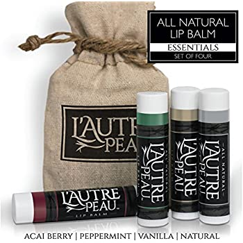 All Natural Luxury Lip Balm with Natural Beeswax by L'AUTRE PEAU - Dry Chapped Lips Treatment with Moisturizer | Essentials Gift Set | Acai Berry, Peppermint, Vanilla & Natural (4 Pack)