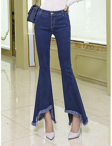 TT&NIUZAIKU Damen Retro Hohe Hüfthöhe Jeans Hose Solide, Blau, s