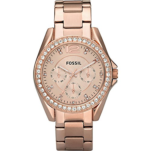 05f9ef6f14f1dd Fossil Women s ES2811 Riley Rose Gold-Tone Stainless Steel Watch with Link  Bracelet