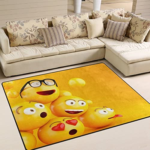 ALAZA 3D Stylish Cute Emoji Smiley Area Rug Rugs for Living Room Bedroom 7 x 5