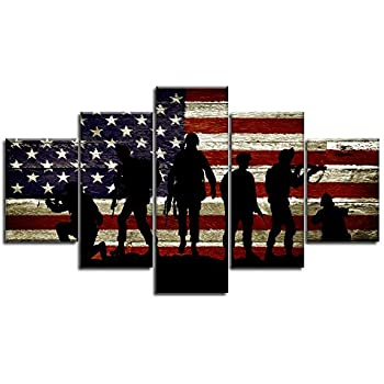 Military Soldiers Army USA US American Flag Canvas Wall Art Prints Thin Blue Red Line Home Decor Pictures for Living Room Bedroom 5 Panel Posters Paintings Framed Ready to Hang (50