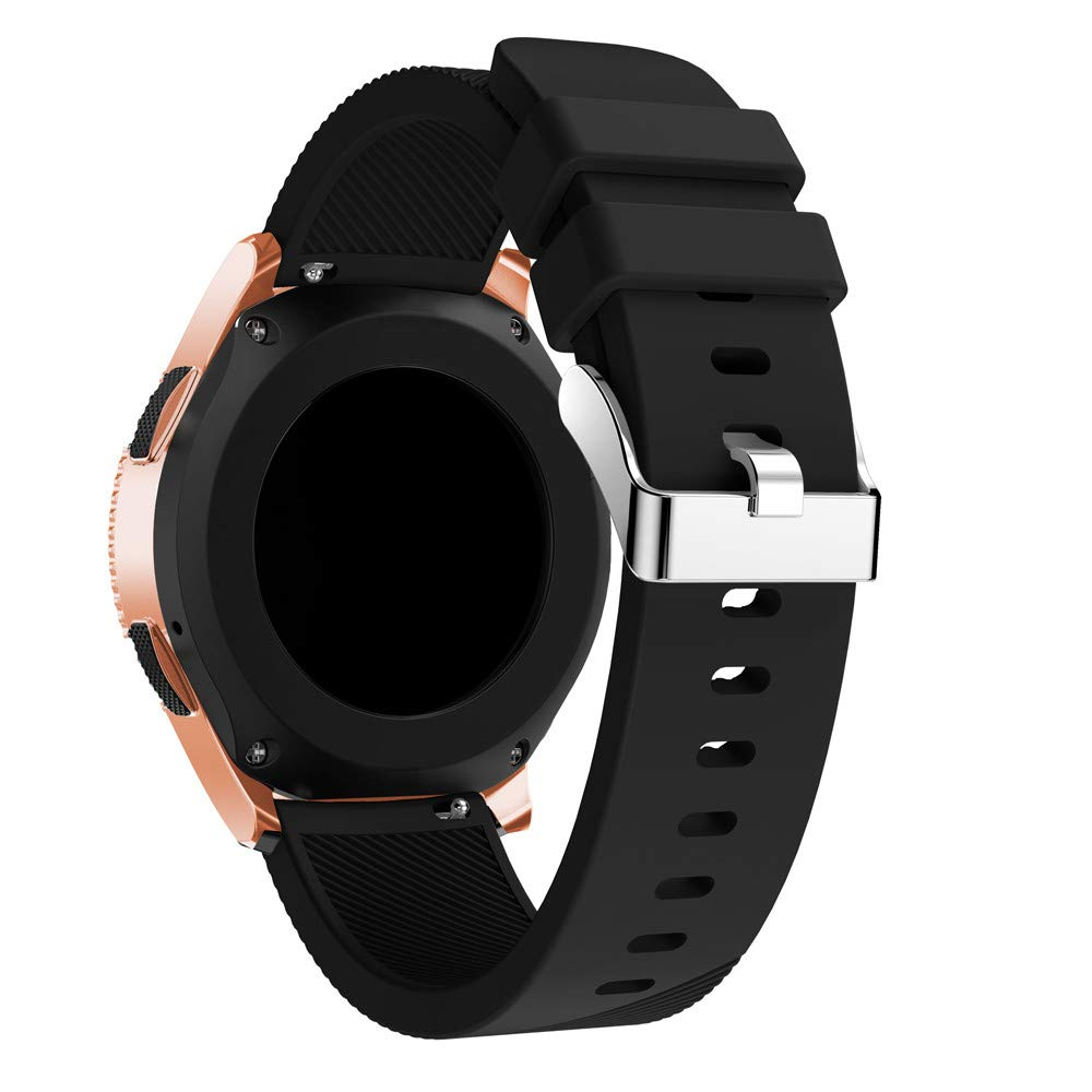 KFSO Compatible Samsung Galaxy Watch 42mm/46mm,Soft Silicone Watch Band Replacement Band Strap (Black, 42mm)