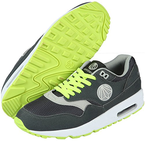 Paperplanes-1317 Unisex Moda Air Cushion Essential Running Sneakers Zapatos Gris Oscuro Verde