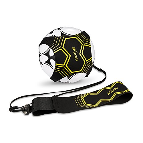 Football Kick Trainer Soccer Training Aid for Kids and Adults Hands Free Solo Practice With Belt Elastic Rope Universal Fits 3 4 5 (Ropes Training Equipment Football)