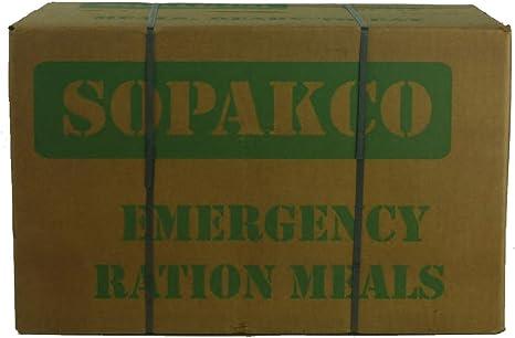 Sopakco MRE - Caja de Comida Lista para Comer, 14 Unidades, para Supervivencia y Emergencia, Caja Verde (palé de 48 Cajas) bajo en Sodio: Amazon.es: Deportes y aire libre