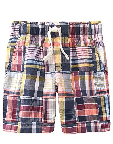 (Gymboree Boys' Toddler Patchwork Woven Shorts, Gym Navy Plaid 4T)