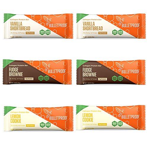 Bulletproof Collagen Protein Bars 6 Pack, Variety, 2 Fudge Brownie, 2 Lemon Cookie, 2 Vanilla Shortbread