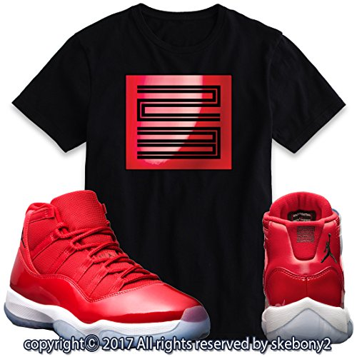fa9d96138043e7 Custom T Shirt Matching AIR Jordan 11 Win Like 96 Matching TEE Bulls red  JD-11-3-4-BLACK-L
