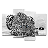 magnificent artistic wall art Amosi Art - 4 Panels Wall Art Black & White Blue Eyed Leopard Canvas Painting Animal Picture Prints On Canvas Wall Artwork For Home Decoration with Stretched and Framed