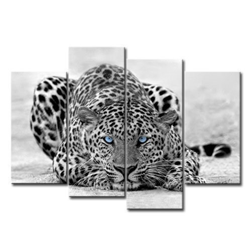 Amosi Art - 4 Panels Wall Art Black & White Blue Eyed Leopard Canvas Painting Animal Picture Prints On Canvas Wall Artwork For Home Decoration with Stretched and Framed