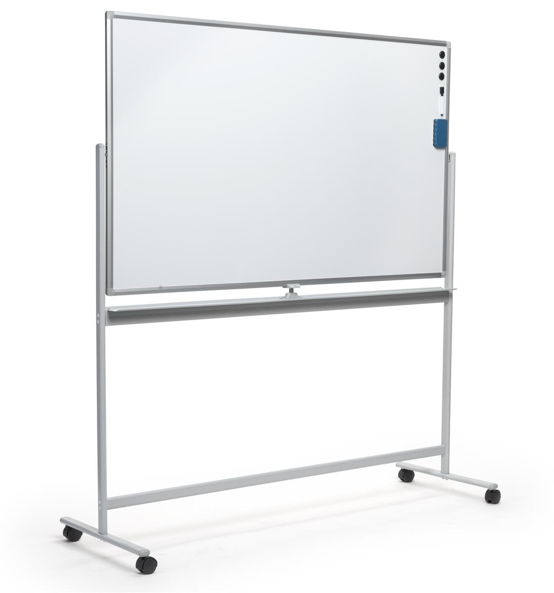 Displays2go 60 x 36 Rolling Whiteboards, Double Sided, Magnetic Surface – Silver (WHBMOB6040)