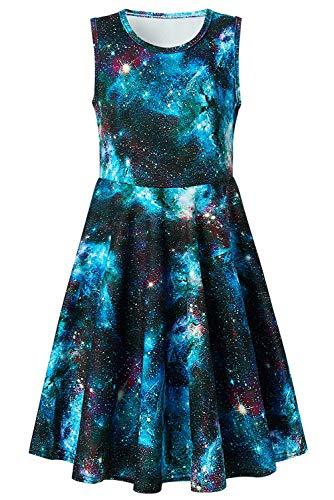 Girls Sleeveless Dress 3D Print Cute Galaxy Nebula Space Pattern Summer Dress Casual Swing Theme Birthday Party Sundress Toddler Kids Twirly Skirt, Galaxy, 10-13T