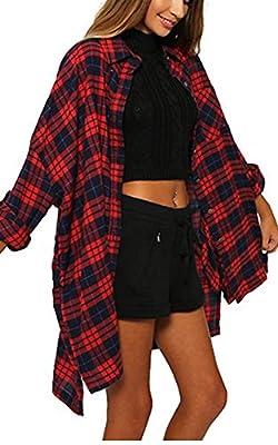 eshion Womens Casual Check Plaid Long Sleeve Pocket Shirts Long Top Blouse?