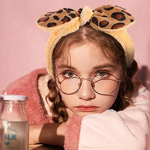 Shindel 6PCS Bowknot Leopard Spa Headbands, Coral Fleece Facial Makeup Headband Leopard for Yoga Sports Shower