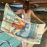 SCOCICI 62.99' W x 31.49' L Cotton Microfiber Bath Towel [...