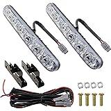 DRL Car Headlight 6 LED High/Low Beam High Power LED Daytime Running Lights Driving Lamp Cool White(2pcs-Pack)