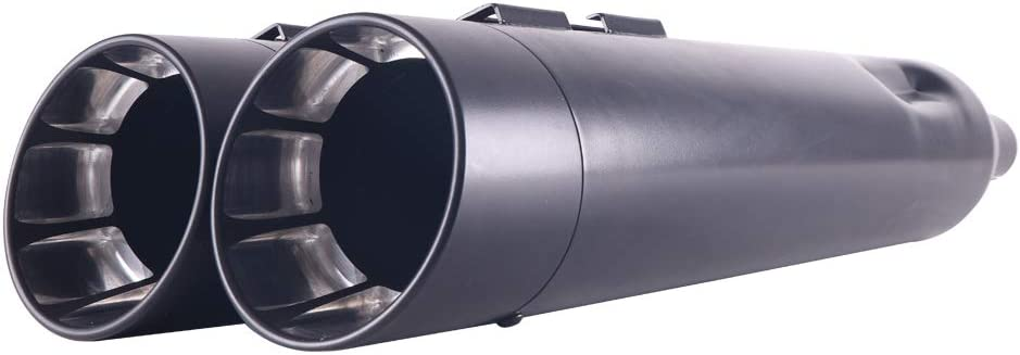 21BB SHARKROAD Black 4.5 Slip Ons Mufflers Exhaust Pipe for Harley Touring 1995-2016 Street Glide Road Glide Road King Ultra Classic
