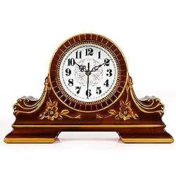 Qddan Fireplace Clock Retro Nostalgic Digital Clock Mute Sitting Clock European Style Desk Clock, Suitable for Decorating Living Room, Fireplace, Bedside Counter, Office, Etc (Color : A)