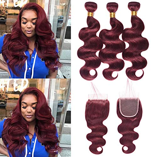 XCCOCO Hair 3 Bundles 16 18 20inch 99j# Body Wave With 14inch Lace Closure 8A Peruvian Virgin Human Hair thick Bundles Hot Sale Wine Red Burgundy Color for Black -